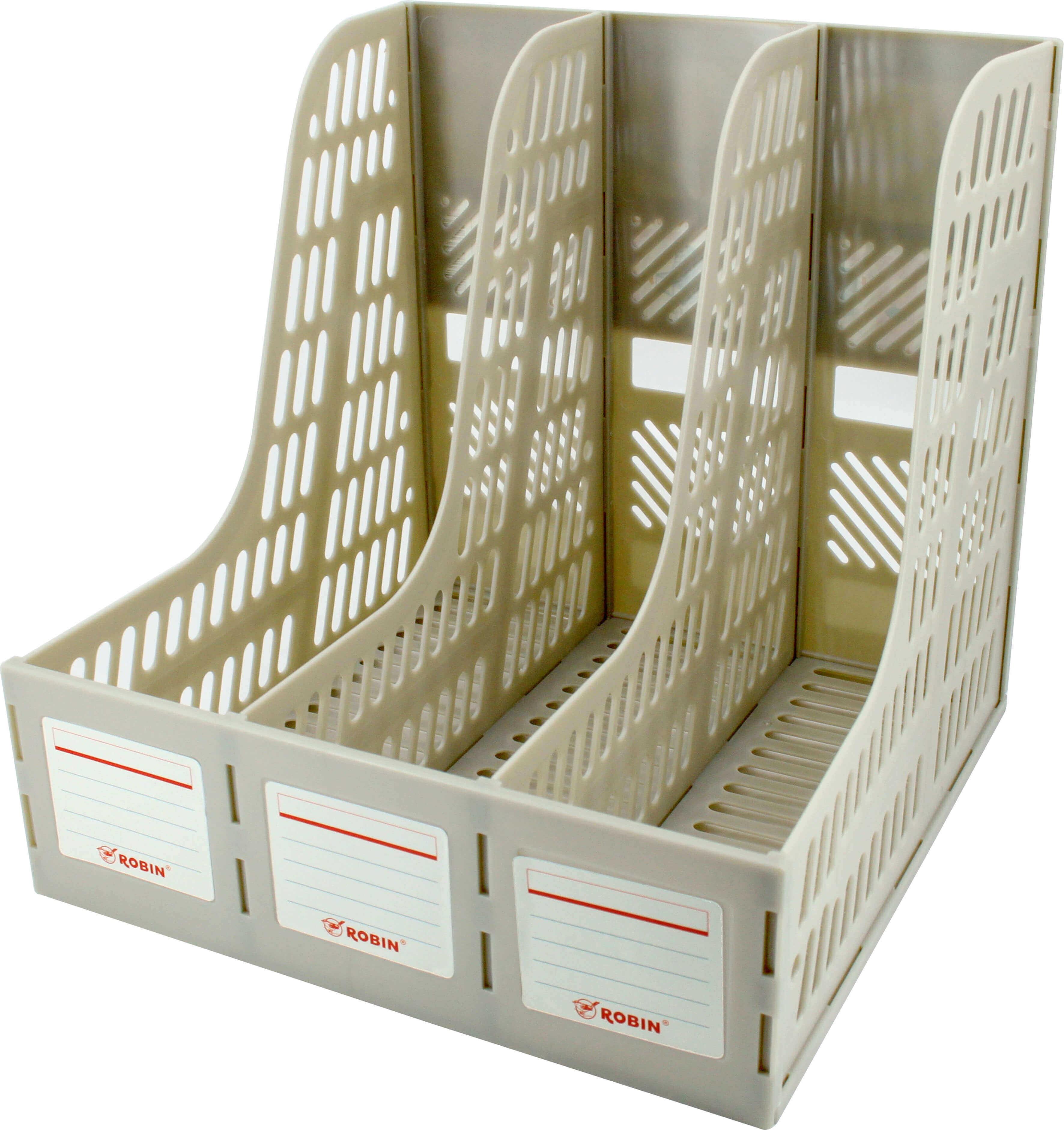 กล่องใส่เอกสารพลาสติก 3 ช่อง Robin 123 สีเทา