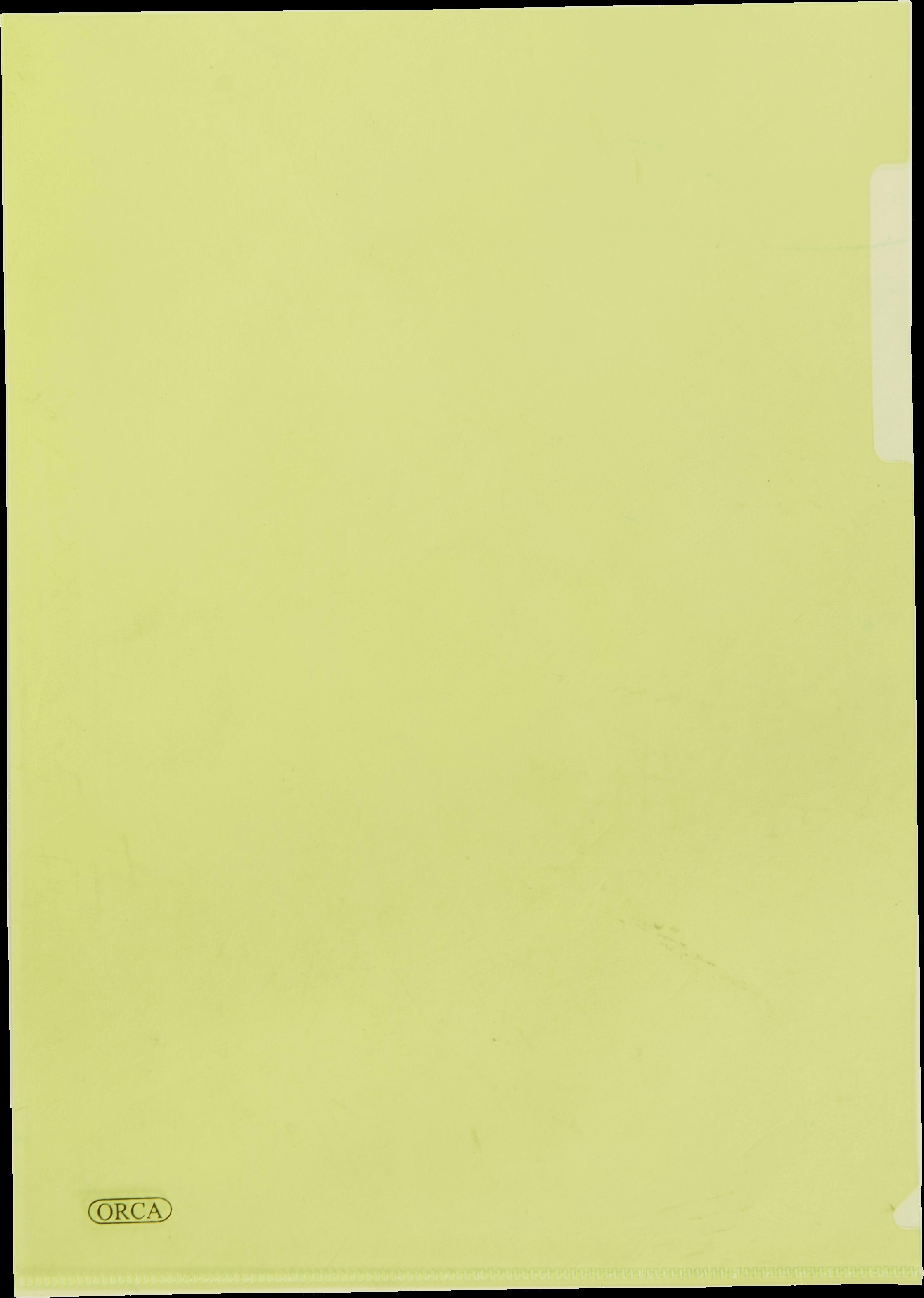 แฟ้มซองพลาสติก Orca 1 ชั้น สีเหลือง F4