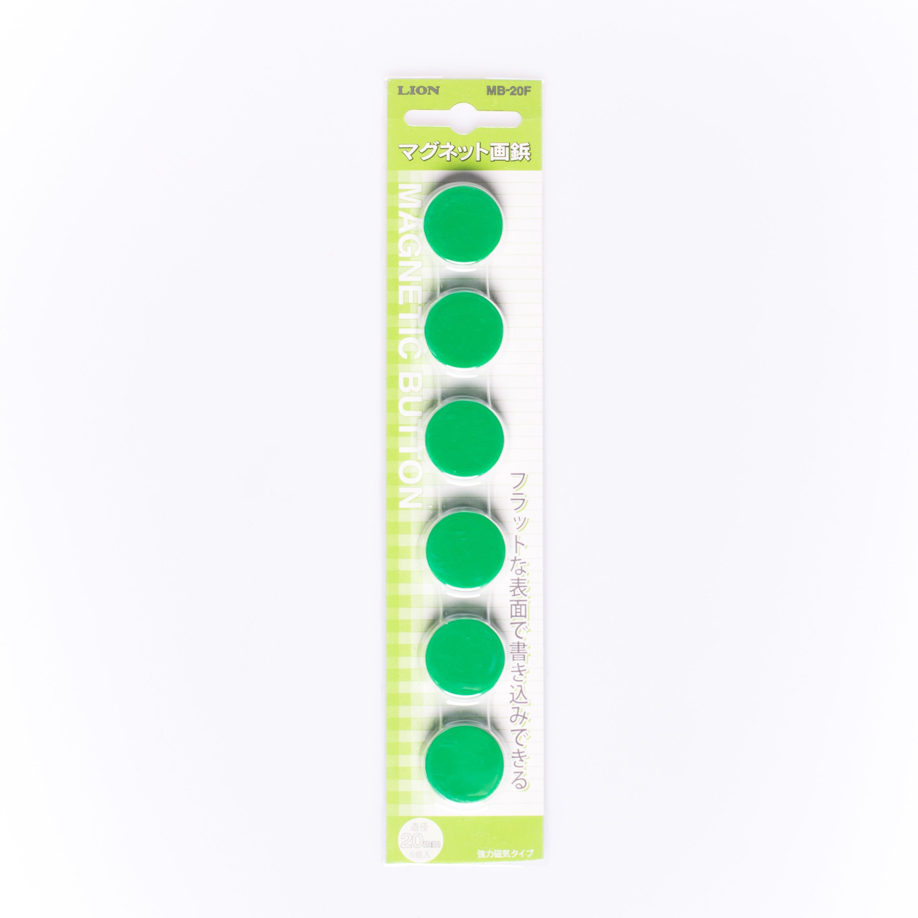 เม็ดแม่เหล็ก LION MB-20F สีเขียว 20 มม. (1x6)