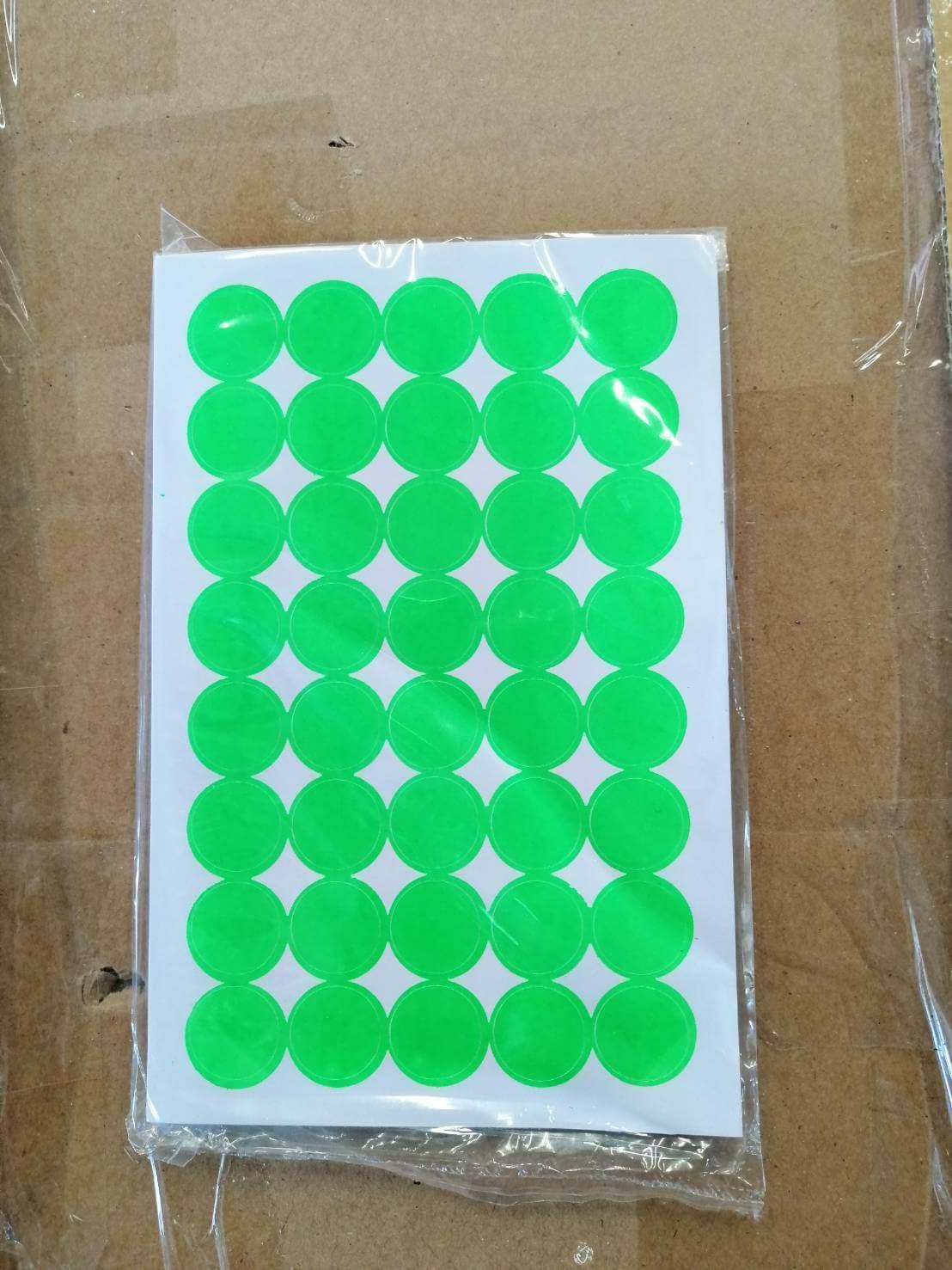 ป้ายสติ๊กเกอร์กลม Saha 18มม. สีเขียว 40ดวง (แพ็ค 5 แผ่น)